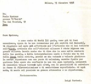 Brano di lettera di L. Cortesi a Paolo Spriano