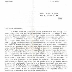Brano di lettera di G. Tosi a Cini
