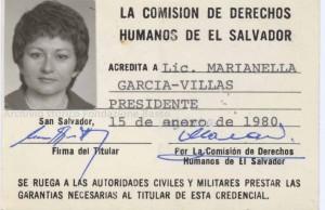 Tessera come Presidente della Comision de derechos humanos de el Salvador